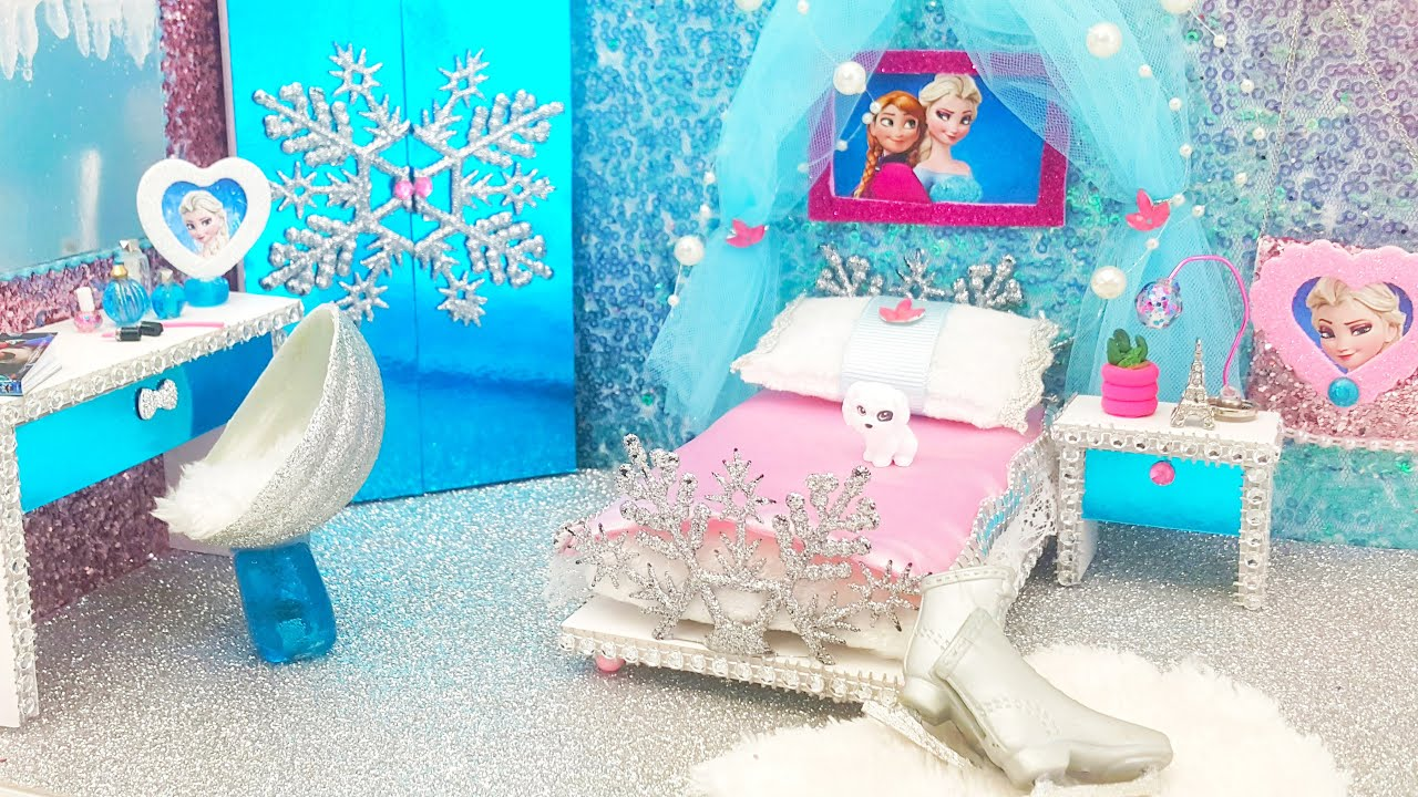 Diy Miniature Frozen Bedroom And Crafts Youtube