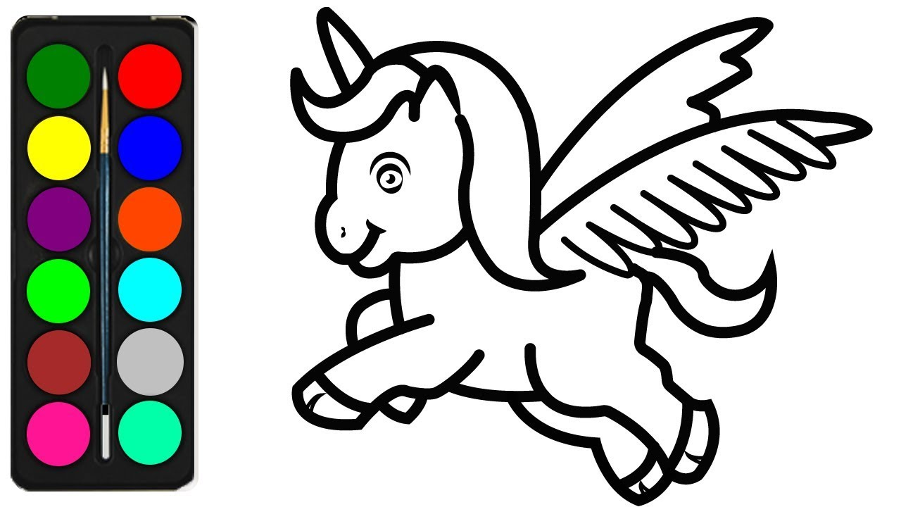 How to Draw a Unicorn Coloring Pages for Kids - Easy ...