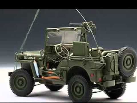 autoart 1 18 jeep willys army green youtube. Black Bedroom Furniture Sets. Home Design Ideas