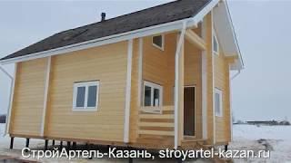 Дом баня 6х10м  в 2 этажа из клееного бруса 200мм.  Тюлячиснкий район, Республика Татарстан.