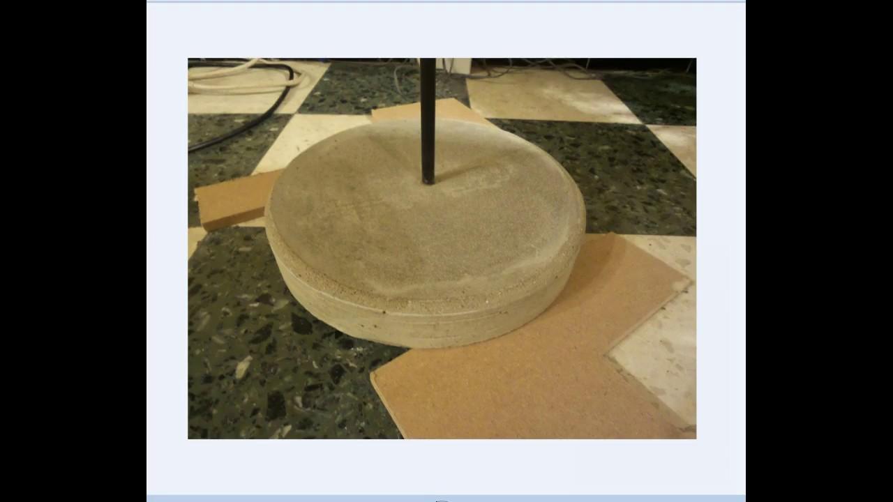 pied en beton mortier support haut parleur