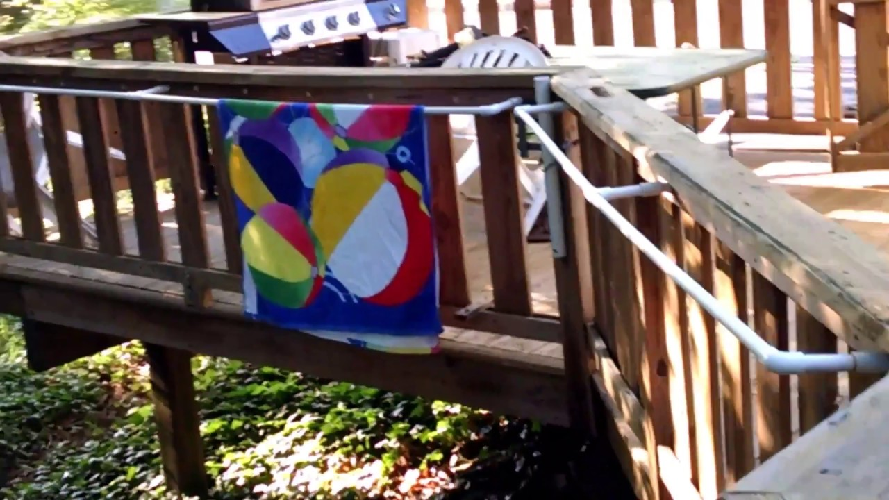 How to make Removable Beach Pool Towel Rack with 12 PVC for Deck