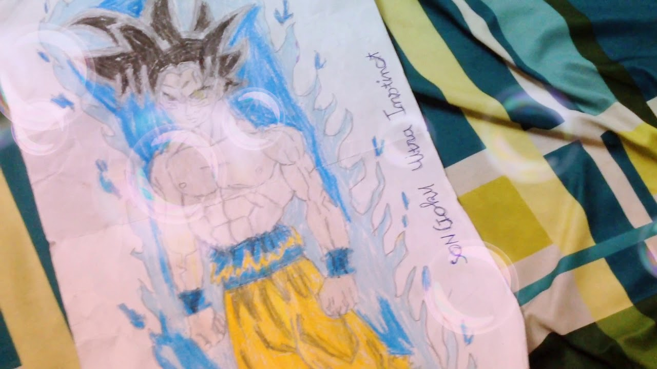 """Bức tranh goku 'UITRA INSTINCT' do """"Gôn và mẹ"""" vẽ"""