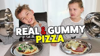 gummy food vs real food pizza challenge die ekligste pizza der welt lulu leon family and fun