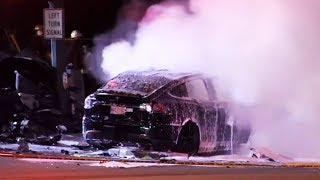 Fiery crash in B.C. highway kills the driver of a Tesla