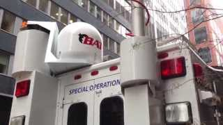 NEW YORK CITY'S CHIEF MEDICAL EXAMINERS OFFICE MOBILE COMMAND CENTER AT PARK PLACE & BROADWAY.