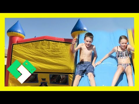 WATER SLIDE BOUNCE HOUSE BIRTHDAY PARTY (Day 1568) | Clintus.tv