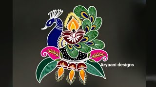 Latest dewali rangoli..simple rangoli..easy steps..with colours..5 to 5 dots..daily kolam..deepavali