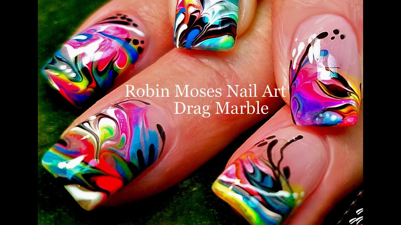 water needed - marble nail art