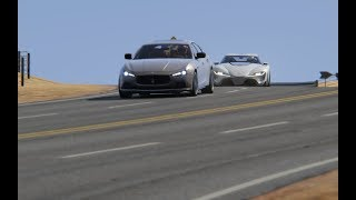 Top Speed Maserati Ghibli S vs Toyota FT-1 at Black Cat Country