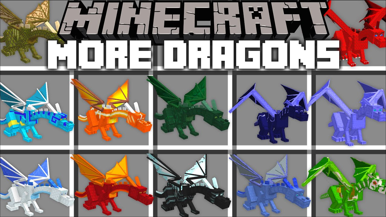 Minecraft MORE DRAGONS MOD / RIDE ALL TYPES OF DRAGONS FROM TRAIN
