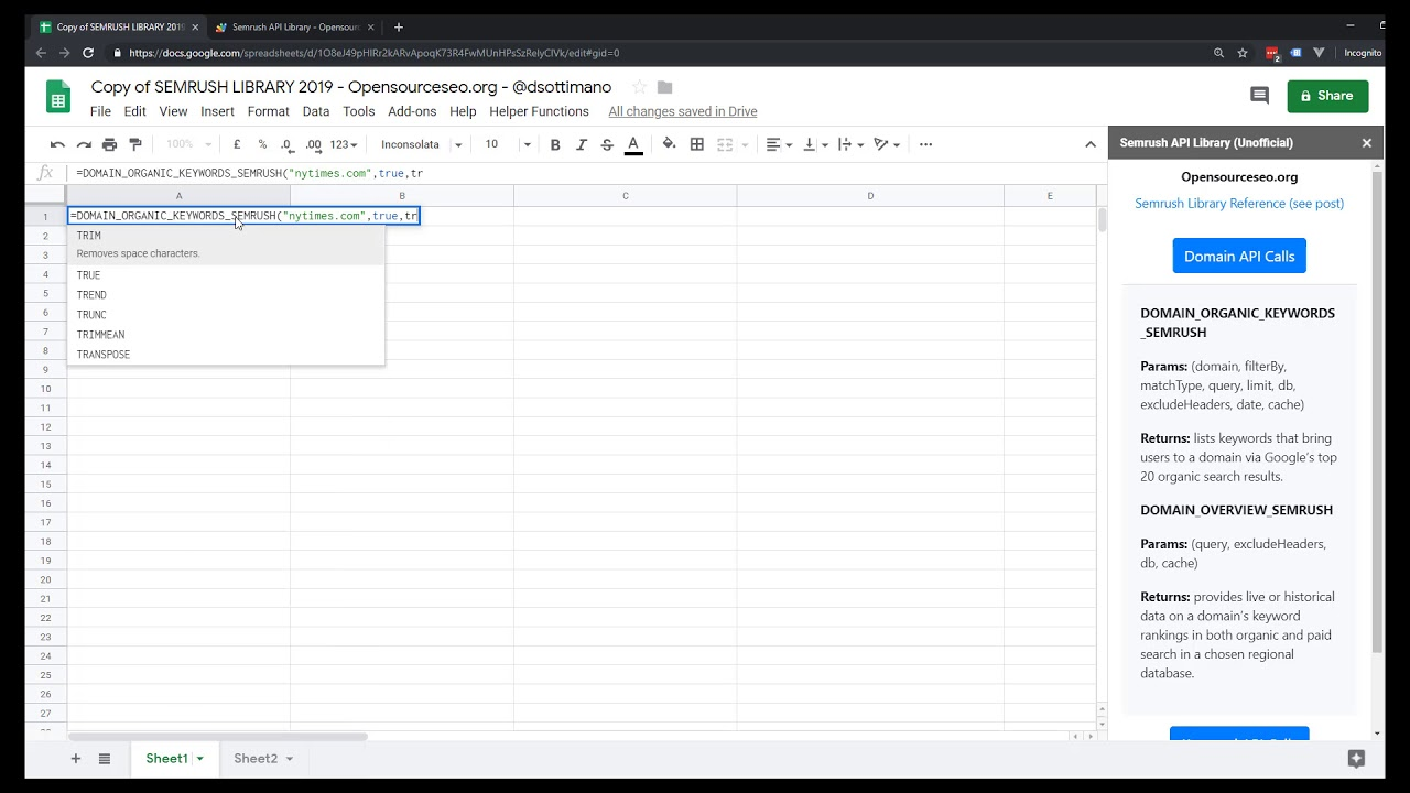 Semrush API Library in Google Sheets (Google Scripts) - Open
