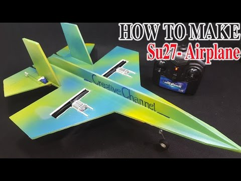 How To Make A RC Airplane SU-27 Sukhoi Twin 180 Motor