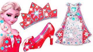 Play Doh Making Colorful Sparkle Disney Princess Frozen Elsa Dress High Heels Crown Castle Toys