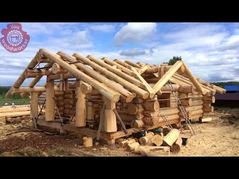 Traditional Log House Building Process. The Birth Of Wooden House | Woodworking You MUST See