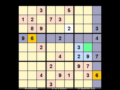 How to Solve Washington Times Sudoku Difficult September 21, 2020