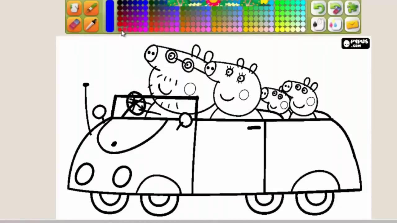 PEPPA PIG coloreando coche de Papá cerdito - YouTube