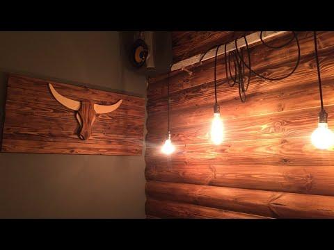 панно бык ,стена из блок Хаус ,вывеска , своими руками декор