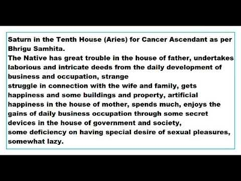Saturn in 10th House for Cancer Ascendant as per Bhrigu