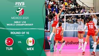 LIVE 🔴 TUR vs. MEX - Round of 16 | Girls U18 Volleyball World Champs 2021
