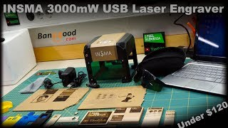 INSMA 3000mW USB Laser Engraver under $80 from banggood [unboxing/review/first test]