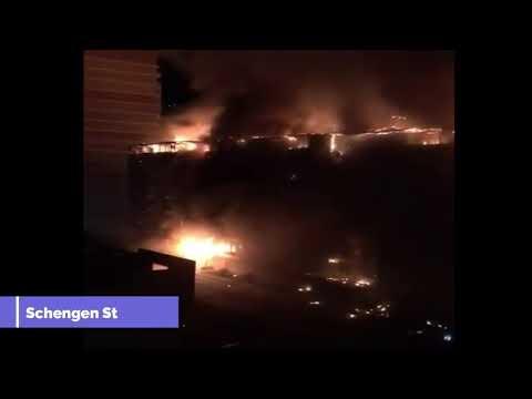 Fire blaze eight-story apartment block in Krasnodar, a city in southern Russia,
