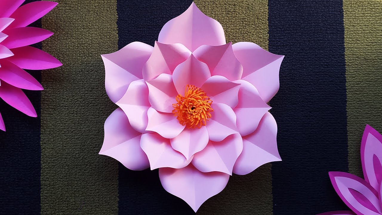 Paper Flower Backdrop With Free Template Paper Flowers Wall Hanging Ideas
