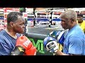 Floyd Mayweather holds pads for Jeff Mayweather, Floyd is not impressed!