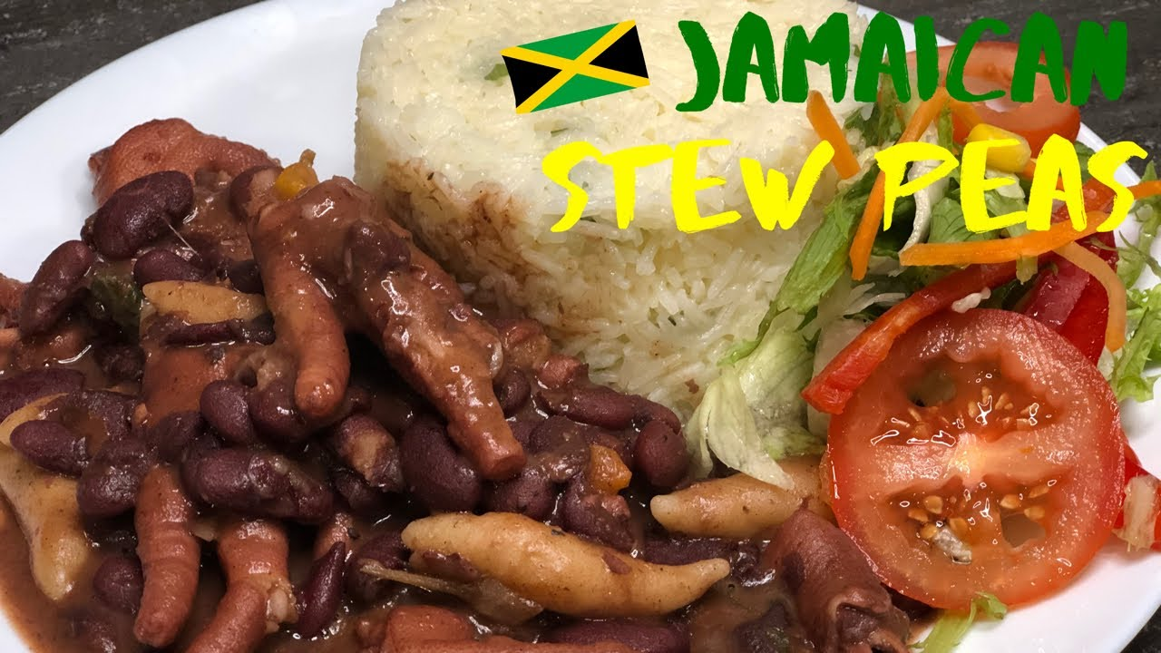 how to make jamaican stew peas with chicken foot cooking