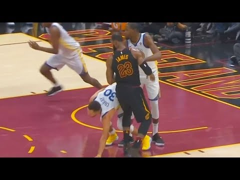 LeBron James hits Stephen Curry in the Groin!