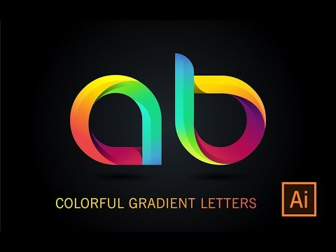 Illustrator Tutorial | create gradient text illustrator | 3D thumbnail
