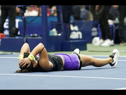 Bianca Andreescu Match Point and Celebration Winning the 2019 US Open Championship