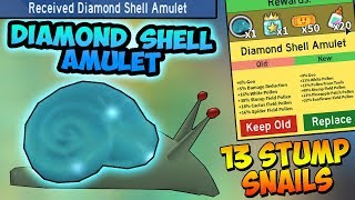 DIAMOND SHELL AMULET UNLOCKED!!! 13 Stump Snails! - Roblox Bee swarm simulator