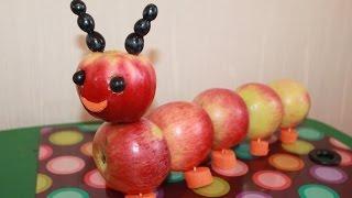DIY Гусеница из яблок Детские поделки своими руками