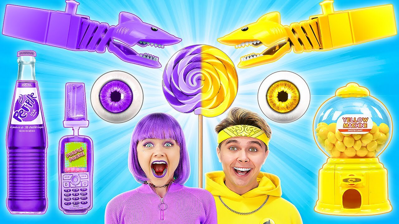 YELLOW VS PURPLE FOOD CHALLENGE || Eating One Color For 24 HOURS! Last To STOP Wins By 123GO! TRENDS