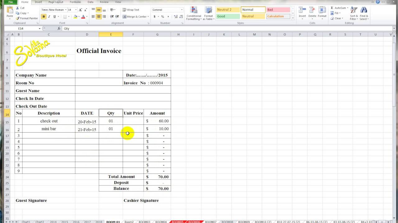Creating An Invoice In Excel How To Make Invoice With Excel  Youtube