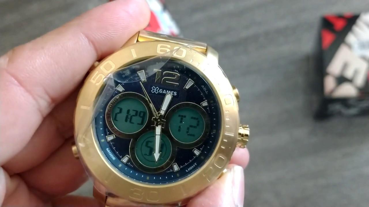 f5a44a783e1 Relógio Masculino X-Games XMGSA002 D2KX Anadigi Dourado - YouTube