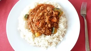 Günstig Kochen: Zucchini mit Hackfleisch + Reis 1€ pro Person und Portion