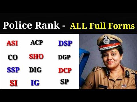 Police Ranks - Full Forms...