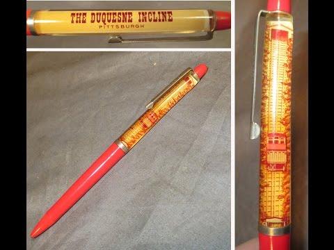 Vintage Duquesne Incline Souvenir Float Motion Pen Railroad Cable Car Pittsburgh PA