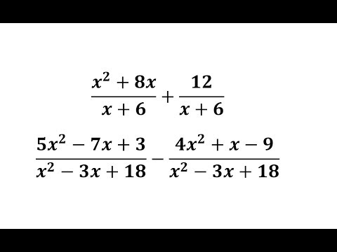 Add Or Subtract Rational Expressions With Like Denominators: (x+a) And  (x^2-bx+c) - YouTube