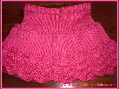 How To Knit A Scallop For Scallop Edge Skirt - Easy Knit Edge - YouTube