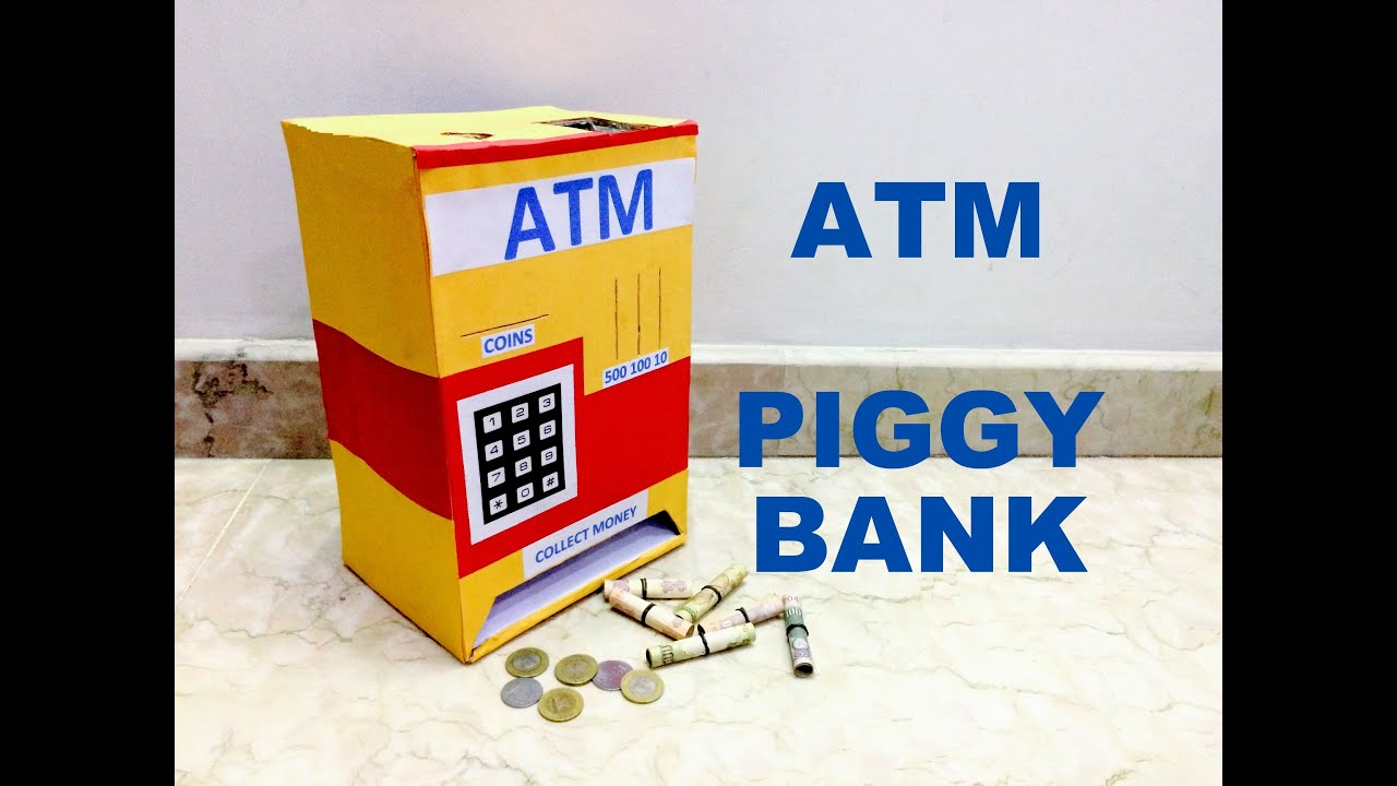 how to make piggy bank atm machine at home youtube. Black Bedroom Furniture Sets. Home Design Ideas