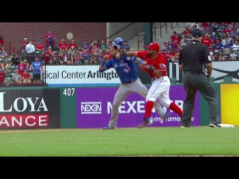 TOR@TEX: Tempers flare between Blue Jays, Rangers