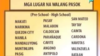 [Balitaan] Ilang lugar sa Luzon nagdeklara ng walang pasok [07|15|14]