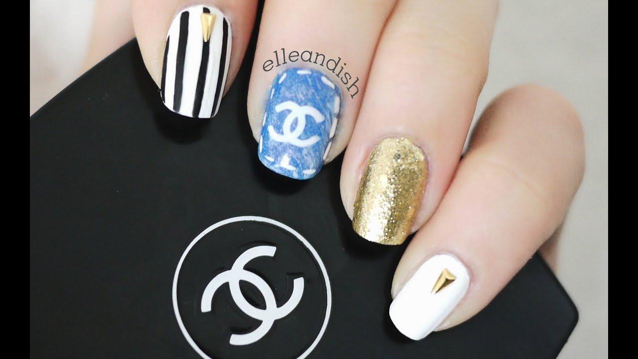 chanel inspired denim nails