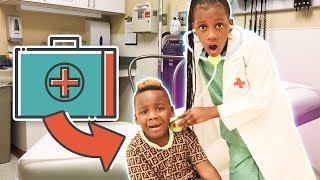 Yaya Gives Dj A Check Up For A Boo Boo  Doctor Pretend Play Skit