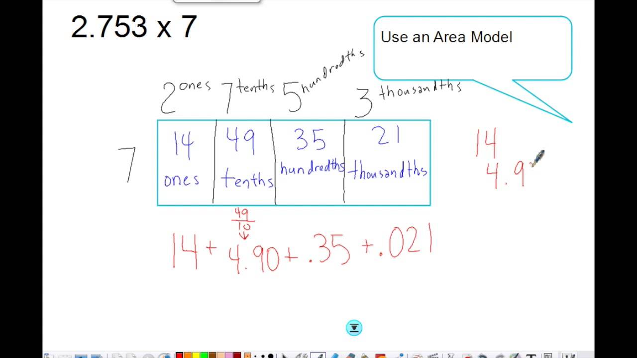Multiplying decimals using an area model youtube multiplying decimals using an area model pooptronica