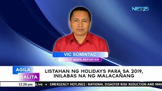 List of regular holidays, special non-working holidays in 2019