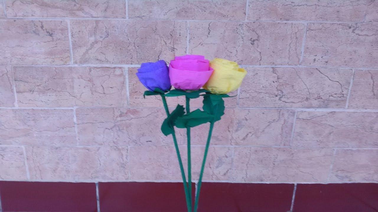 Cara Paling Mudah Membuat Bunga Mawar Dari Kertas Krep Youtube